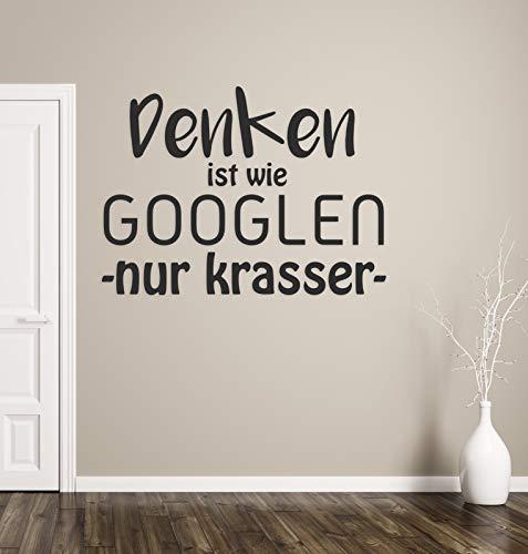 tjapalo® a106 Wandtattoo Büro Sprüche Motivation deutsch Wandsprüche Büro Motivationsspruch denken ist wie googlen, Farbe: Schwarz, Größe: B58xH33cm