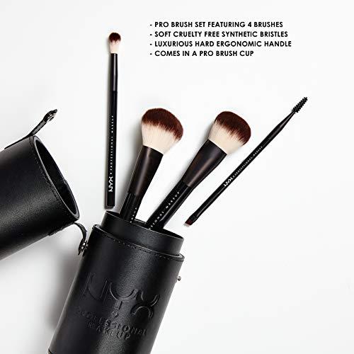 NYX Professional Makeup Brush Set Premium Synthetic Face Powder Blending Blush Eyeshadow Brushes Kit de Pinceaux de Maquillage avec Brosse (4 pièces, Noir)