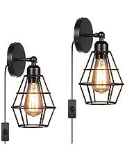 Tomshine 2-delige wandlamp industriële wandlamp E27 met stekker en schakelaar binnen zwenkbaar voor slaapkamer woonkamer veranda gang [energieklasse A+]