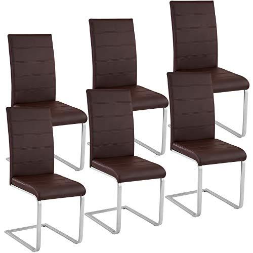 TecTake 6 Esszimmerstühle Schwingstuhl Set, Kunstleder - Diverse Farben - (Braun)