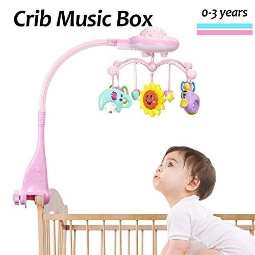 Baby Nursery mobiele kerststal speelgoed musical kinderbed krib roterende speeldoos kind sterren licht projectie speelgoed klokken muziekdoos en sterrenprojector projectie (blauw + roze)
