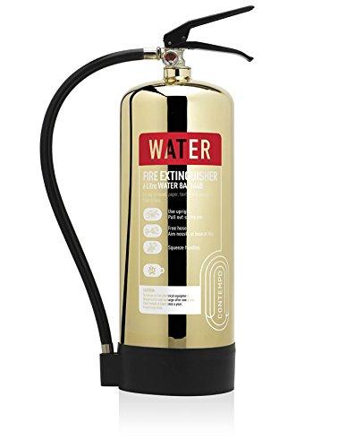 Designer–Gold poliert 6Liter Wasser Feuerlöscher. CE. Ideal für Luxus Büros, Geschäften, Hotels, Restaurants und-sensiblen Bereichen.