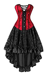 100% brand new Made of satin and lace fabric Great for waist training, costume and fashion corset Sexy Bride Corset Basque corset dress Lingerie Set Adjustable ribbon lace up can be tighten your wasit effectively, Features the metal busk closure, con...