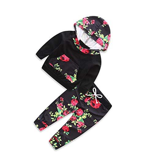 Boburyl 2pcs del bebé Infantil Kid Flor de Las Muchachas con Capucha Top Pantalones Set Disfraces Traje de Bolsillo de la Camiseta de Pantalones