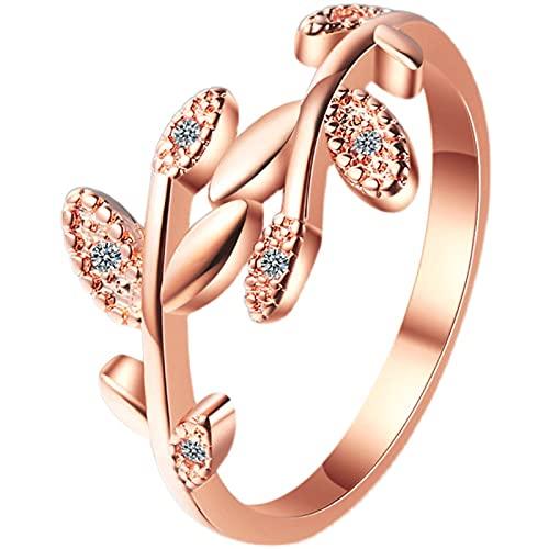 Anillo Mujer,Anillos ajustables abiertos de circonita cúbica de hoja de olivo, anillo de banda de pulgar de dedo con puño de diamante simulado, regalos de joyería para mujeres y niñas, oro rosa