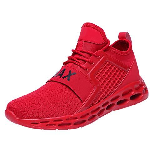 Luckycat Sneaker Herren Rot Sport Flach Atmungsaktive Elegant Leicht Freizeit Schuhe Zum Schnüren Männer Teenager Mode Für Outdoor Barfußschuhe Herren
