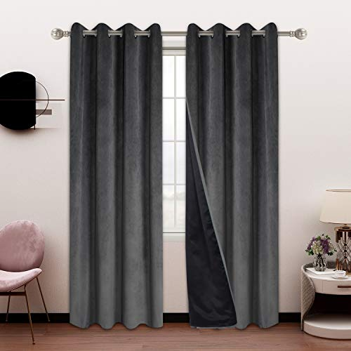 SHEEROOM 100% Blackout Velvet Curtains for Bedroom and Living Room, 52 x 84 inch Length, Dark Grey - Thermal Insulated, Energy Saving, Sun Blocking Grommet Window Drapes, Set of 2 Curtain Panels