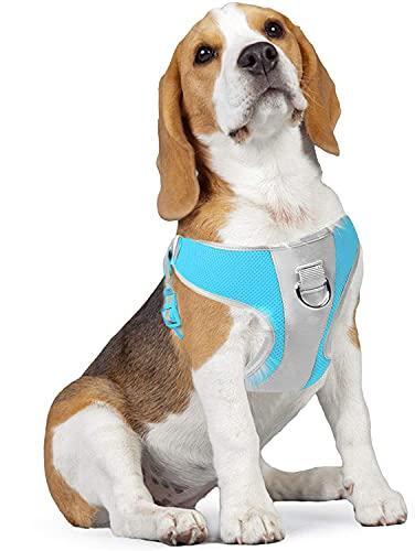 NIUBICLAS Arnés para perro con correa de aire, sin tirar, con malla de aire transpirable ajustable y reflectante