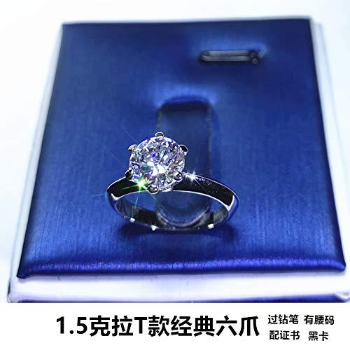 Mossan Stone Ring Pure Zilveren Ring Geplatineerde Diamanten Ring Vrouw Zes Klauwen 1 Karaat Bruiloft Diamanten Ring 20e. Classic Zes poten 1,5 karaat