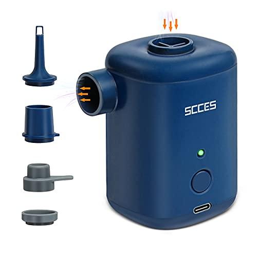 SCCES Wireless Inflador Electrico, Portable 5V Inflador Bomba de Piscina Recargable, Bomba de Aire Electrica para Airbed Inflar y Desinflado para el Balón de Yoga en Interiores y Exterior Cámping