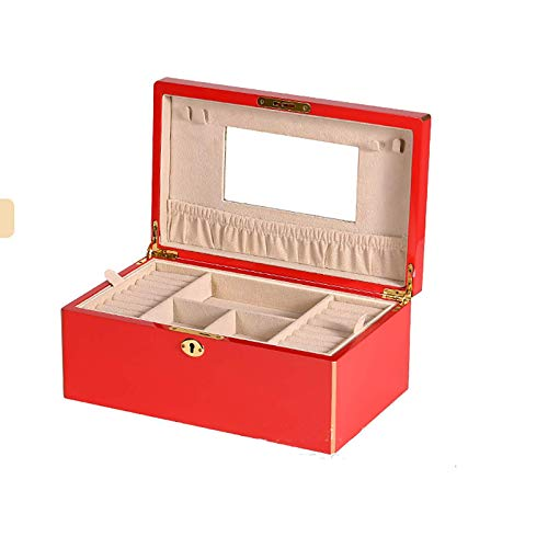 YUNLILI Lockable Wooden Jewellery Box 2 Layer Jewelry Organiser with Key for Necklaces Earrings Rings Best Gifts for Women Girls,Red (Color : Red)