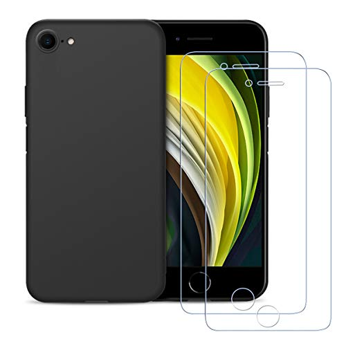 Hülle für iPhone SE 2020, E-Lush [ 2 Stück] Durchsichtige 9H Panzerglas Schutzfolie für iPhone SE 2020 Handyhülle Ultra Dünn Weich Silikon TPU Schutzhülle Stoßfest Etui Slim Case Cover, Schwarz