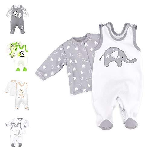Baby Sweets 2er Strampler Set & Shirt für Mädchen und Jungen Verschiedene Größen, Grau - Little Elephant, 9 Monate (74)