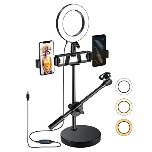 N \ A 6' Selfie Ring Light, Multifunction(Dual Phone Holders, Microphone Stand) Dimmable LED Ring Light for Live Delivery/TikTok/YouTube Short Video