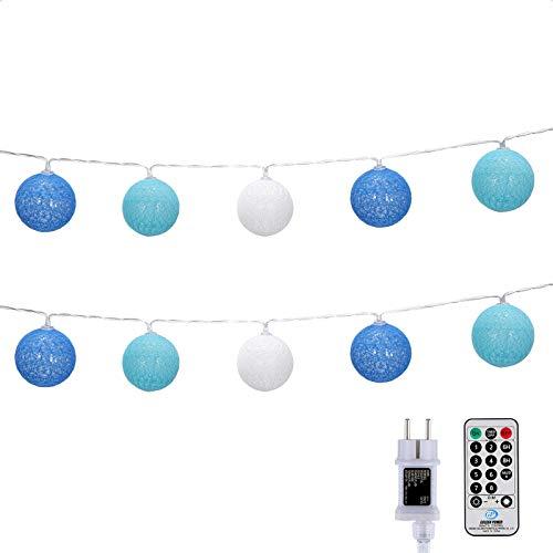 DeepDream Kugeln Lichterkette 5m 20 LED Cotton Ball Lichterkette Dimmbar Baumwollkugeln Lichterkette Innen Lichterkette mit Fernbedienung und Timer für Zimmer Kinderzimmer Hochzeit Party (Königsblau)