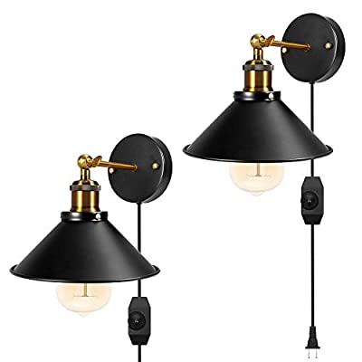 Wall Sconce Black Hardwire Industrial Vintage Wall Lamp Fixture Simplicity Arm Swing Wall Lights