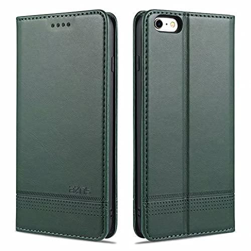 CRABOT Reemplazo para iPhone 6 Plus Funda de Cuero PU Plegable Cartera Cierre Magnético Ranura para Tarjeta,Soporte Plegable Protectora Cover(Verde Oscuro)