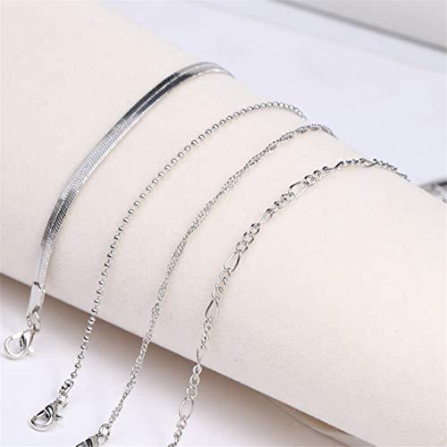 Kissherely 4pcs / Set Bracelet de Cheville Argent Set Femmes Perles Alliage Pieds Nus Bracelet de Cheville Bracelet Plage Accessoires (Style 2)