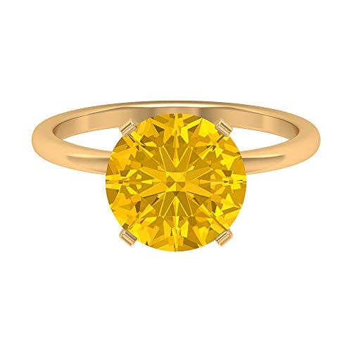Rosec Jewels 18 quilates oro amarillo redonda Yellow zafiro sintético amarillo
