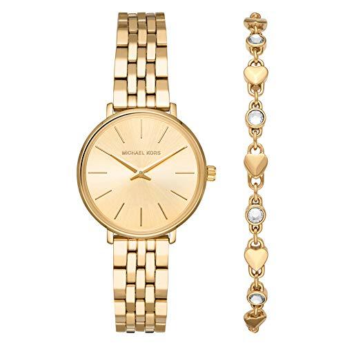 Michael Kors Pyper Set de Regalo Pulsera y Reloj para Mujer con Caja y Correa de Acero Inoxidable Tono Dorado MK4495