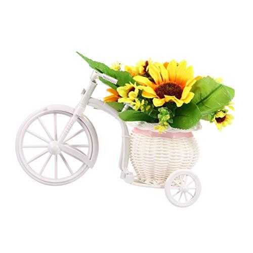 Wakauto Girasol Artificial Jardín de Flores Cestas de Flores de Seda Soporte de Bicicleta Mini Jardinera Nostálgica Bicicleta para La Decoración de La Boda en Casa