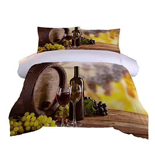 Juego de Funda nórdica patrón de Vino Juego de edredón con Estampado de 3D Juego de Cama 135x200cm+2 Fundas de Almohada
