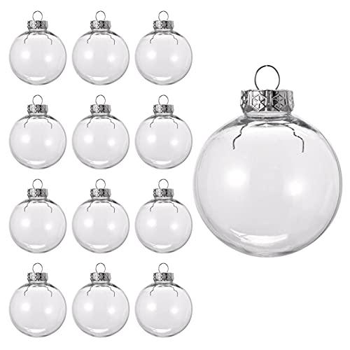 15 Piezas Bolas de Navidad Transparentes para Llenar| Plástico Reutilizable y Resistente| Adornos de Bolas de Árbol de Navidad Personalizable, Decoración Navideña, Manualidades para Niños.