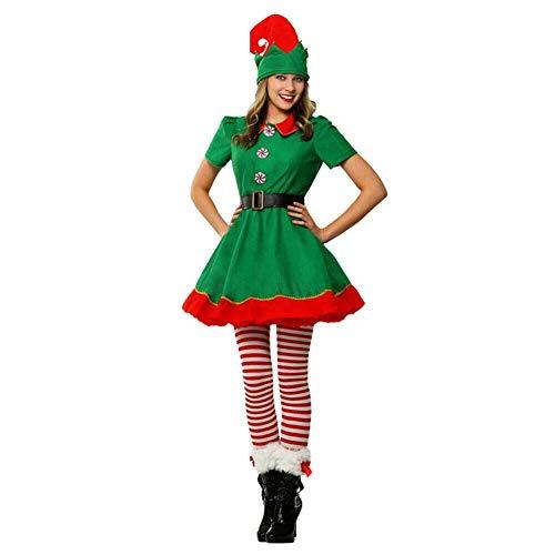 Angel ZYJ Disfraz Elfo Navidad Niñas Niños Adulto 90-180cm Tops + Pantalones + Gorra + Calcetines Duende Costume Vestirse