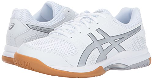 ASICS Womens Gel-Rocket 8 Volleyball Shoe, Silver/White, 8 Medium US