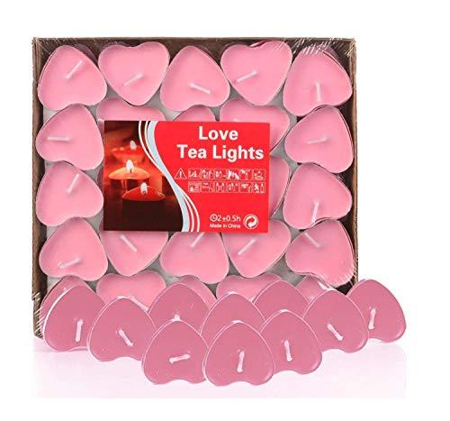 AOI 50pcs Teelicht Set Romantische Herz Kerzen Rauchfrei Teelicht für Geburtstag, Vorschlag,Hochzeit,Party(Rosa)