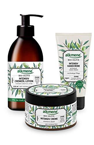 alkmene Set de crema corporal, locion para el cupero y crema de manos con oliva orgánica para pieles muy secas - Productos veganos y sin siliconas, parabenos, ni PEGs, SLS y SLES