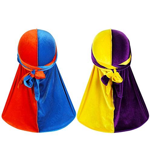 2 PCS Color Matching Two Tone Velvet Wave Durag - Soft Durag Headwear with Extra Long Tail Perfect for 360 Waves