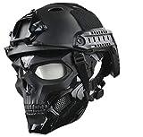 2. JFFCESTORE Tactical Mask and Fast Helmet,Protective Full Face Clear Goggle Skull mask Dual Mode Wearing Design Adjustable Strap (Mask+Helmet Black)