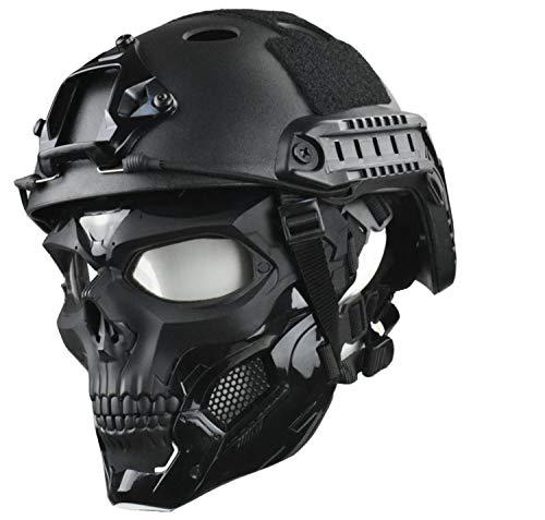 JFFCESTORE Tactical Mask and Fast Helmet,Protective Full Face Clear Goggle Skull mask Dual Mode Wearing Design Adjustable Strap (Mask+Helmet Black)