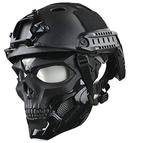 JFFCESTORE Tactical Mask and Fast Helmet,Protective Full Face Clear Goggle Skull mask Dual Mode Wearing Design Adjustable Strap One Size fits All (Mask+Helmet Black)