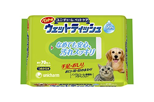 ユニ・チャームペット ペット用ウェットティッシュ つめかえ用 70枚入