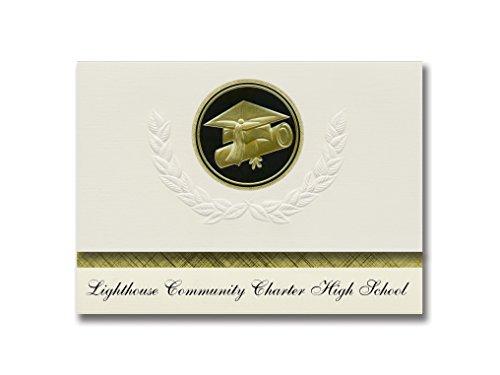Signature Announcements Leuchtturm Community Charter High School (Oakland, CA) Graduation Ankündigungen, Presidential Elite Pack 25 Cap & Diplom Siegel Schwarz & Gold