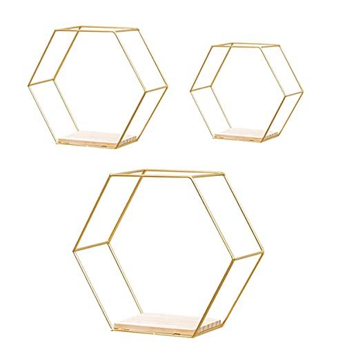KAILUN Estantería De Pared Hexagonal, Decoración Geométrica Mural Estantería Flotantes De Pared Baldas De Almacenamiento De Decoración para Salón O Dormitorio,Oro