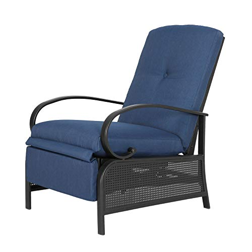 Ulax Furniture Patio Recliner Chair Automatic Adjustable Back Outdoor Lounge Chair with 100% Olefin...