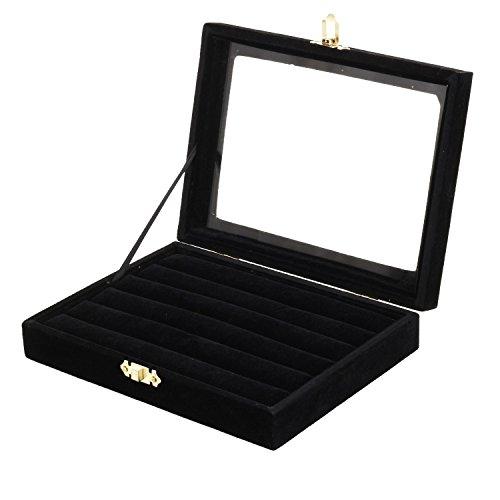 Pinzhi - Noir Presentoir Coffret à Bijoux Boîte à Clou d'oreille Bois & Velours avec Couvercle en Verre