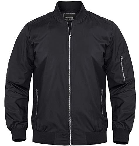 Bnokifin Men's Black Bomber Jacket Casual Windbreaker Coat Athletic Fit Jacket Fashion Coats