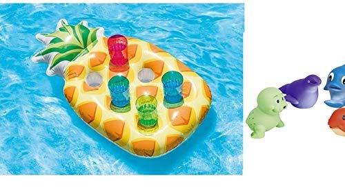 Bavaria Home Style Collection Aufblasbare Ananas Poolbar Getränkehalter Luftmatratze Kühler Getränkekühler für Pool Schwimmbad Schwimmbecken Kinderpool Familienpool Strand Meer für 6 Getränke