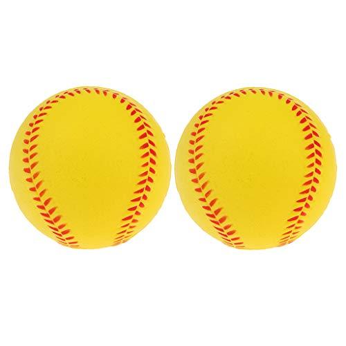 T TOOYFUL 2er Pack Soft Bouncy Ball Training Übungsspiel PU Baseball Softball Weiß - Gelb, 7 cm