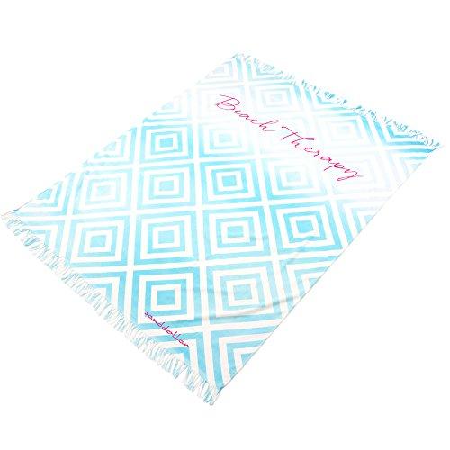 """Sanddollar Strandtuch XXL """"Beach Therapy"""" mit Fransen, 173 x 137 cm, Badetuch Strandlaken Wickeltuch, 100% Baumwolle (Türkis - Rauten - Muster)"""