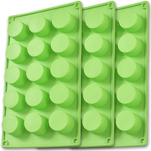Newk Molde de silicona cilíndrico, 3 paquetes de 15 cavidad