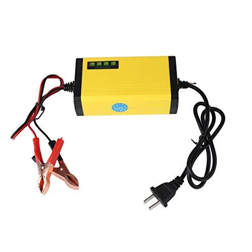 Wolfberrymetal Mini portátil 12V 2A Cargador de batería de Coche Adaptador Fuente de alimentación Motocicleta Auto Cargador de batería Inteligente Pantalla LED (Amarillo Principal)