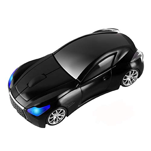 CHUYI Wireless Sport Car Shaped Mouse 1600DPI 3 Button Optical Mouse Ergonomic Gaming Mice with USB Receiver for PC Computer Laptop Gift (Black)
