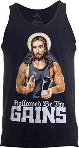 Hallowed Be Thy Gains | Funny Muscle Jesus Weight Lifting Workout Humor Tank Top-(Adult,L) Black