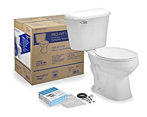 Complete toilet kit with round-front 2-piece toilet Anti-siphon ballcock; 2 inch flush tower; 12 inch rough-in; 2 inch glazed Trap way 1.6 gpf/6.0 lpf Bowl height: 14-3/4 inch Material: vitreous China; Chrome Trip lever; 3 bolt tank-to-bowl connectio...