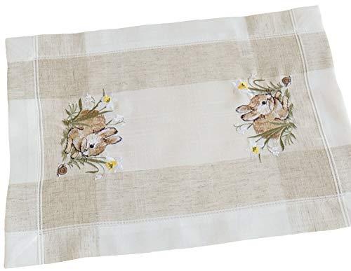 matches21 HOME & HOBBY tafelloper tafelkleed tafellinnen Pasen beige/wit Pasen konijntje linnen look geborduurd 35x50 cm